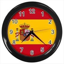 Spain Wall Clock (Black) - Spanish Flag - £13.07 GBP