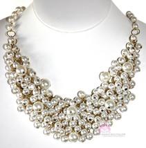 Classic Womens Chunky Bib Mesh Cream Pearls of Wisdom Bridal Dressy Necklace - $9.97