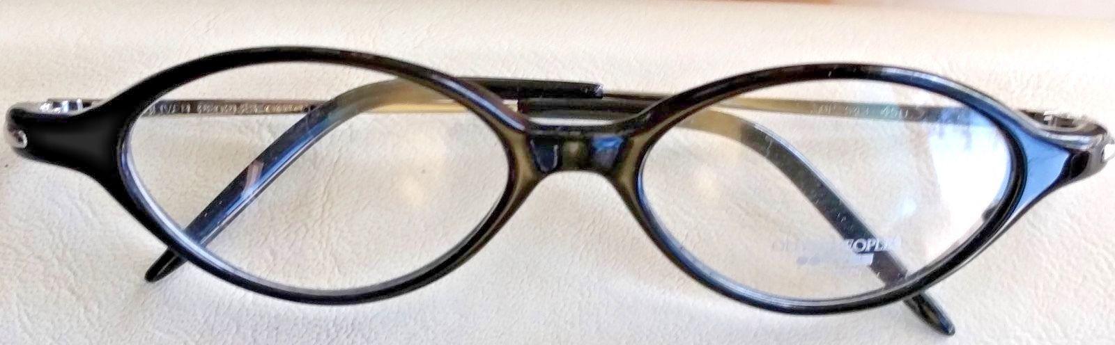 NOS OLIVER PEOPLES OP-543 Vintage Eyeglasses Frame Black 8K OP 543 Silver CASE - $58.91