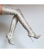Sexy Silver Over the Knee Thigh High Snake Skin Boots ! - $270.00