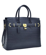 Chic Croco Embossed Satchel Handbag w/ Padlock - $53.00