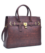 Chic Croco Embossed Satchel Handbag w/ Padlock - $53.00