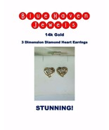 14k Gold and Diamond Heart Earrings 1/3ct Genuine Diamonds-SUPER CHEAP! - $169.00