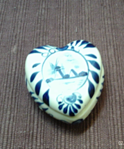 Vintage ROYAL DELFT Blue & White WINDMILL Heart Shaped Trinket Box - $10.25