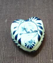 Vintage ROYAL DELFT Blue & White WINDMILL Heart Shaped Trinket Box - $13.63 CAD