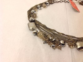 NEW Brass Toned Multistrand Necklace Faceted Crystals Adjustable Lobster Clasp image 2