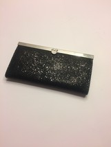 Black Sparkly Clutch Purse with Silver Trim and Clasp - FREE SHIPPING! - $11.74