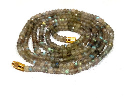 """Natural Labradorite 3-4mm rondelle faceted beads 16"""" beaded Collar Long necklace - $10.50"""