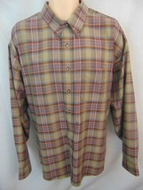 Van Heusen Easy Care Tan  Plaid Long Sleeve Button Front/Collar Shirt Me... - $13.99