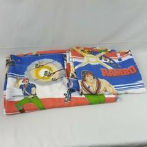 Vintage Rambo Twin Size Sheet Set 2 Piece Flat & Fitted Sheet 1985 1986 ... - $53.43