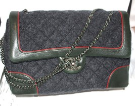 New Chanel  Flap Gray Felt  Green Leather medium  2015 Sold out !!! - $3,663.00