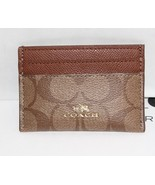 "New Coach Signature ""C signature  PVC Card Case Light Khaki Saddle  63279 - $31.68"