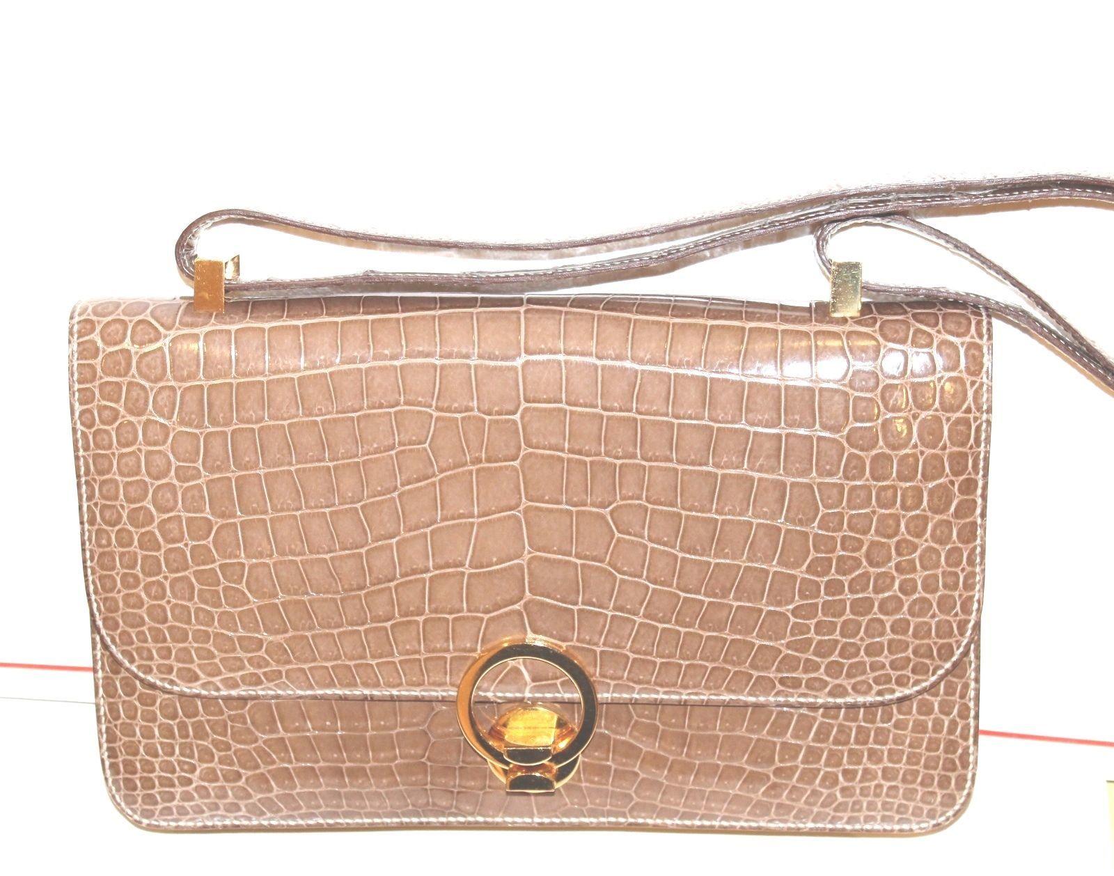 Vintage Hermes  Alligator Crocodile  Handbag Purse clutch