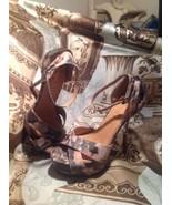 Paper Fox WOMEN'S  GREEN & TAN Platform Sandals GOLD Stiletto Heels SIZE... - $19.78