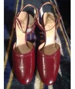 RETRO VALLEY CORPORATION WOMEN'S BURGANDY ANKLE STRAP HEELS SZ 9AAAA PUMPS - $19.78