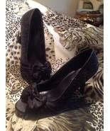 "Charlotte Russe Women'BLACK Glitter W/ Satin Bow 3.5"" High Heel Peep Toe... - $21.37"