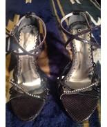Crysalis Womens Black/ Stones/Silver Formal Wedding High Heel Sandal Sho... - $19.78