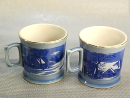 Currier and Ives (2) Mugs Homestead In Winter by Royal (USA) Blue Gold A... - $12.00