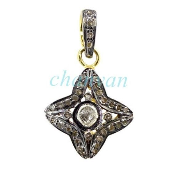 Primary image for Victorian/Vintage Look Rose Cut/Polky Diamond Sterling Silver Pendant @CSJ4103