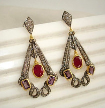 Vintage/Antique Handmade 3.5C Rose Cut Diamond 925 Silver Dangle Earring... - $361.12