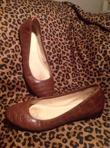 Nine West Reptile Croc COGNAC BROWN Slip On Ballet Flats Women's SHOES S... - $15.83