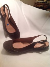 "Gianni Bini ""Pepper"" Brown Leather Low Heel Sli... - $19.79"