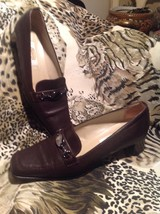 Talbots Women's Brown Leather W/SILVER Chain Low Heel Loafers Shoes Size 6.5M - $22.17