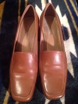 EASY SPIRIT Ladies Brown Soft Leather Comfort Slip-Ons Pumps Shoes Heels Sz. 6B - $19.78