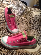 Converse All Star Low Top Canvas Pink & Green Youth Sneakers Sz 3M No Laces - $21.03