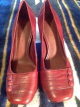GIANNI BINI Women's Pumps Classic HEELS Sz 7M Maroon LEATHER Square Toe ... - $19.99