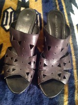 Franco Sarto Womens Black Leather Mules Slip On Sandals Heels SZ 10 M CLASSY! - $16.82