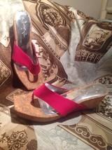 Jessica Simpson Vandy Patent PINK Leather Wedge  Sandals Size 7.5B Cork ... - $24.74