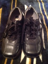 Mens SKECHERS Black/Gray Lace Up Leather Casual Shoes Size 8 M *NICE CON... - $29.44