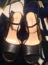 Womens TALBOTS stylish black leather sandals / heels shoes sz. 6 B - $17.08