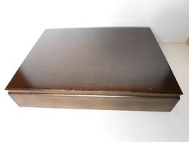 Vintage solid wood 14 x 11 walnut flatware case VGU  - $19.97