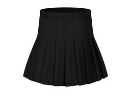 Women`s Pleated High waist Tennis costumes Skirts(Black,L) - $26.72