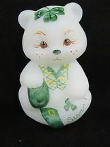 "FENTON ART GLASS 2003 OPAL SATIN ""SEAN"" ST. PATTY'S SITTING BEAR FIGURIN... - $148.49"