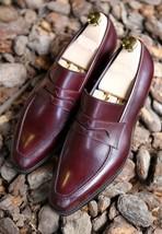 Handmade Men's Burgundy Color Slip Ons Loafer Leather Shoes image 3