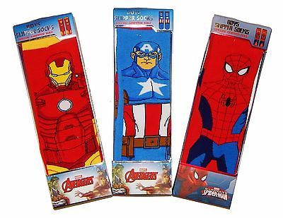 IRON MAN CAPTAIN AMERICA Slipper Socks w/Gripper Soles In Gift Box NWT Ages 6-10
