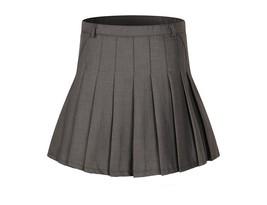 Women's High Waist Pleated School Skirt(White,L) - $29.69
