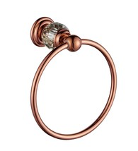 Rose gold clour Bathroom brass crystal design towel ring  - $49.49
