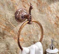 Rose gold clour Bathroom brass towel ring flowers - $45.53