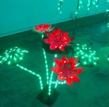 "25.5"" LED Lotus Light 3 red Lotus 2 Green Leaf Christmas Holiday Outdoor Deco - $133.65"