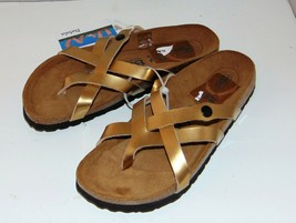 New BETULA by BIRKENSTOCK Vinja Slide Sandal Gold Birko-Flor 39/8 - $41.42