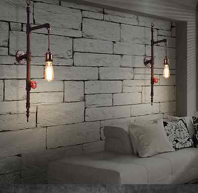 Industrial Steampunk Sconce Edison E27 Light Wall Lamp Pipe Lighting Fixture