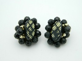 HONG KONG Black Gold Acrylic Bead Clip Earrings Vintage - $13.86