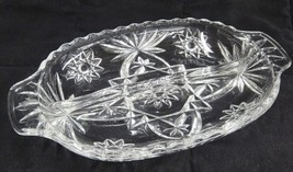 "Anchor Hocking Prescut Clear 2 Part Divided Relish Dish 10"" Starburst Nice - $5.93"