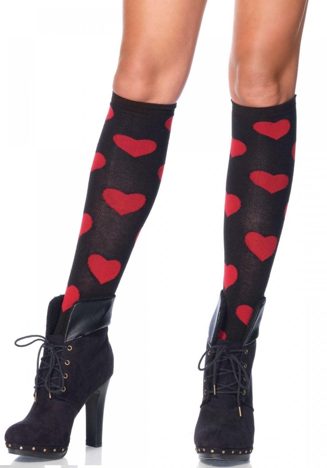 b6f1f6c13f6 Leg Avenue LOVE SICK HEART knee highs black and 50 similar items