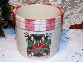 Christmas Crock Candy Cookies Candy Canes Plaid - $7.79