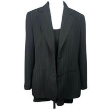 Loft Black Pinstripe Blazer Lined Button Cuffs Padded Shoulders Women Si... - $23.76